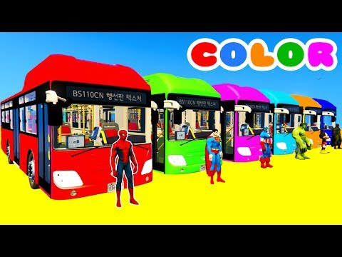 Thumbnail: Learn Colors Big Bus Extreme Jump w Spiderman Cartoon & Superheroes Animation for Kids