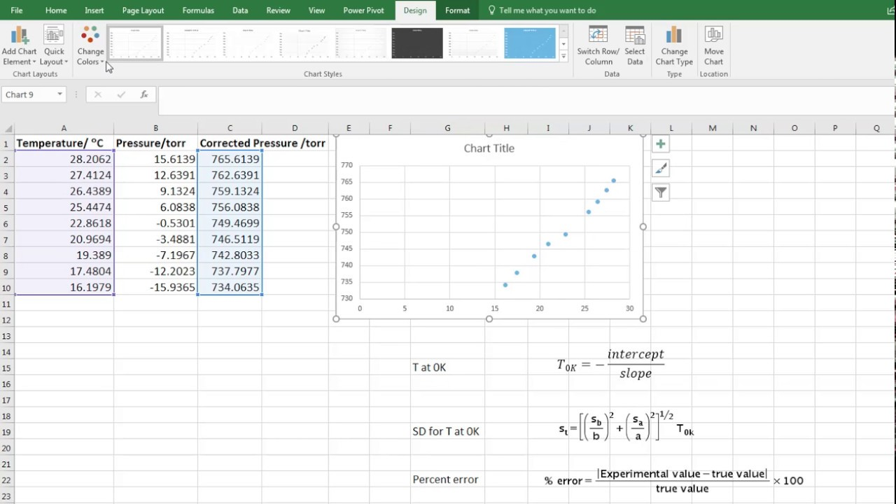using excel for gas law calculations youtube
