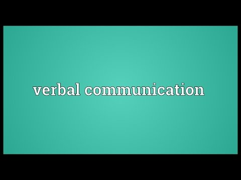 Verbal Communication Meaning