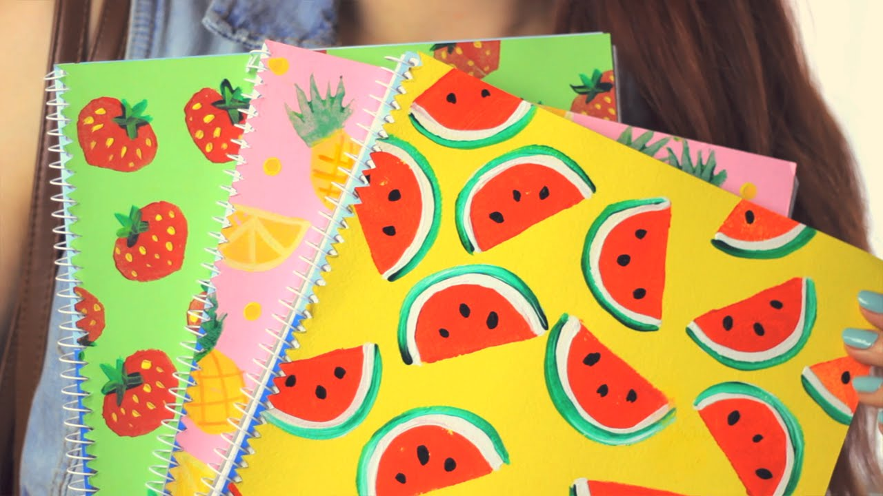 Diy fruity notebook covers back to school youtube for Back to school notebook decoration ideas