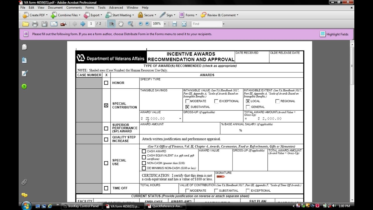 How to fill out VA form 4659 for Special Contribution award(s)