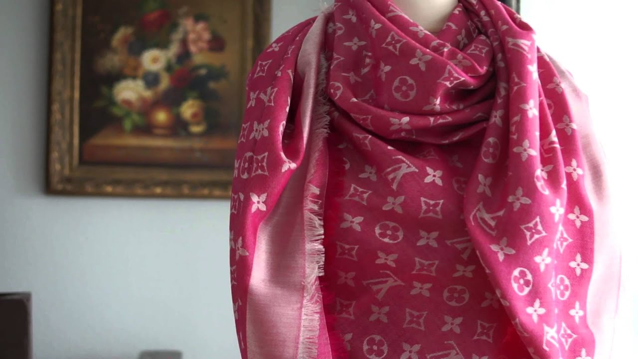 24be4d8f6ac9a Authentic Louis Vuitton LV Monogram Denim Scarf Shawl Review Unboxing Pink  Buy