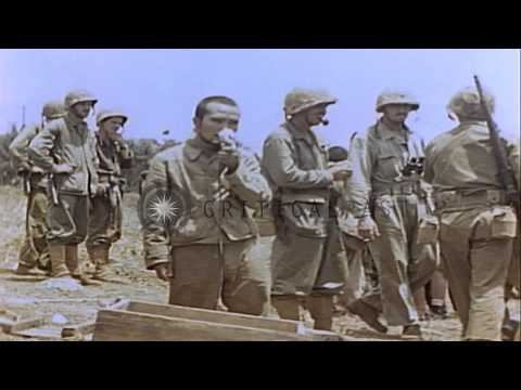 US Marines and  aftermath of the battle for Saipan during World War II HD Stock Footage