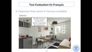 Tef / Tef Canada - Section B, Expression Orale : EXERCICES & CORRECTION