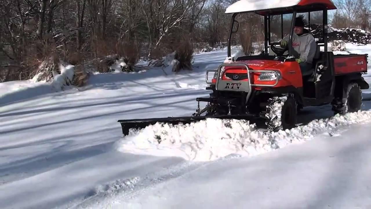 Kubota Snow Plow >> UTV Hitchworks - Kubota RTV 900 equipped with our Farmboy and Plowboy snow plowing - YouTube