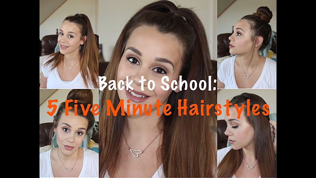 back to school: 5 five minute hairstyles | quick, cute & easy - youtube