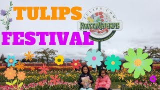 Skagit Valley Tulip Festival at RoozenGaarde with Washington State Kids Family Video Mandy and Bella