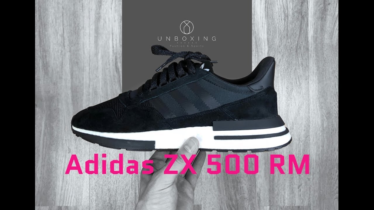 sports shoes f5a05 e8f48 Adidas ZX 500 RM core blackFtwrwht  UNBOXING  ON FEET  fashion shoes   2018