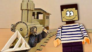 Паровоз из картона для Нуба из Майнкрафт Как сделать железную дорогу у себя дома