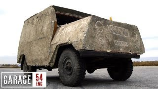 Driving our concrete UAZ for the first time
