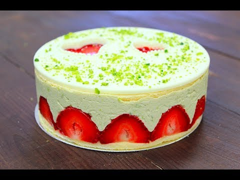 Торт Фрезье / Фисташковый / Strawberry Fraisier Cake with Pistachios