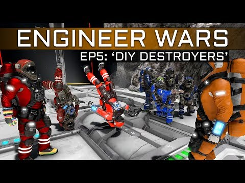 Space Engineers: DIY Destroyers! 3v3 Build-Off w/ Player Made Weapons (ENGINEER WARS #5)