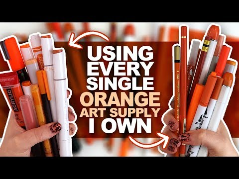 ORANGE EVERYWHERE?! | Drawing Something Using Every ORANGE PENCIL, MARKER, PAINT, ETC I Own