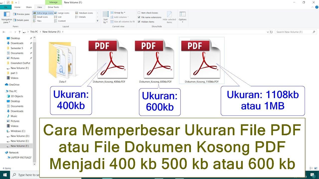 Cara Memperbesar Ukuran File Pdf Atau File Dokumen Kosong Pdf Menjadi 400 Kb 500 Kb Atau 600 Kb Youtube