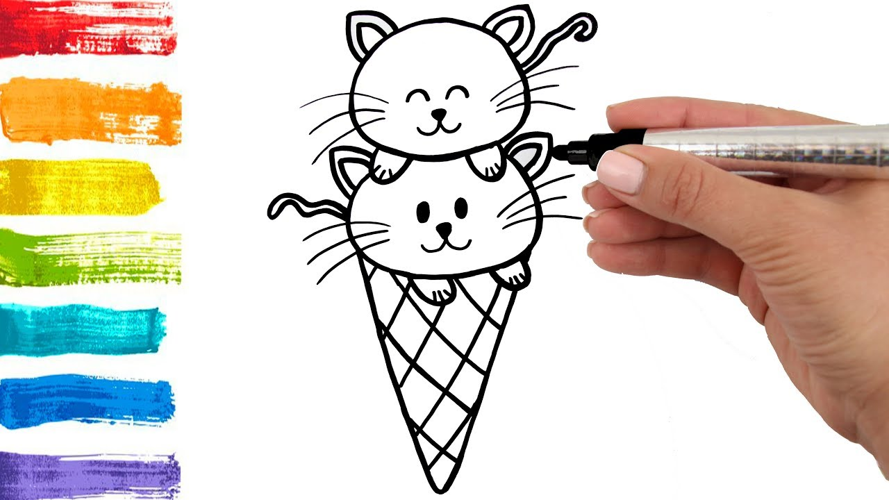 How to Draw Ice Cream Cats for Kids Coloring Pages Art Colours for Children  - Learn Colors