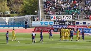 2013/4/13 J1第7節 甲府vs柏 前半7分の福田選手のFKにGK菅野選手動けず.