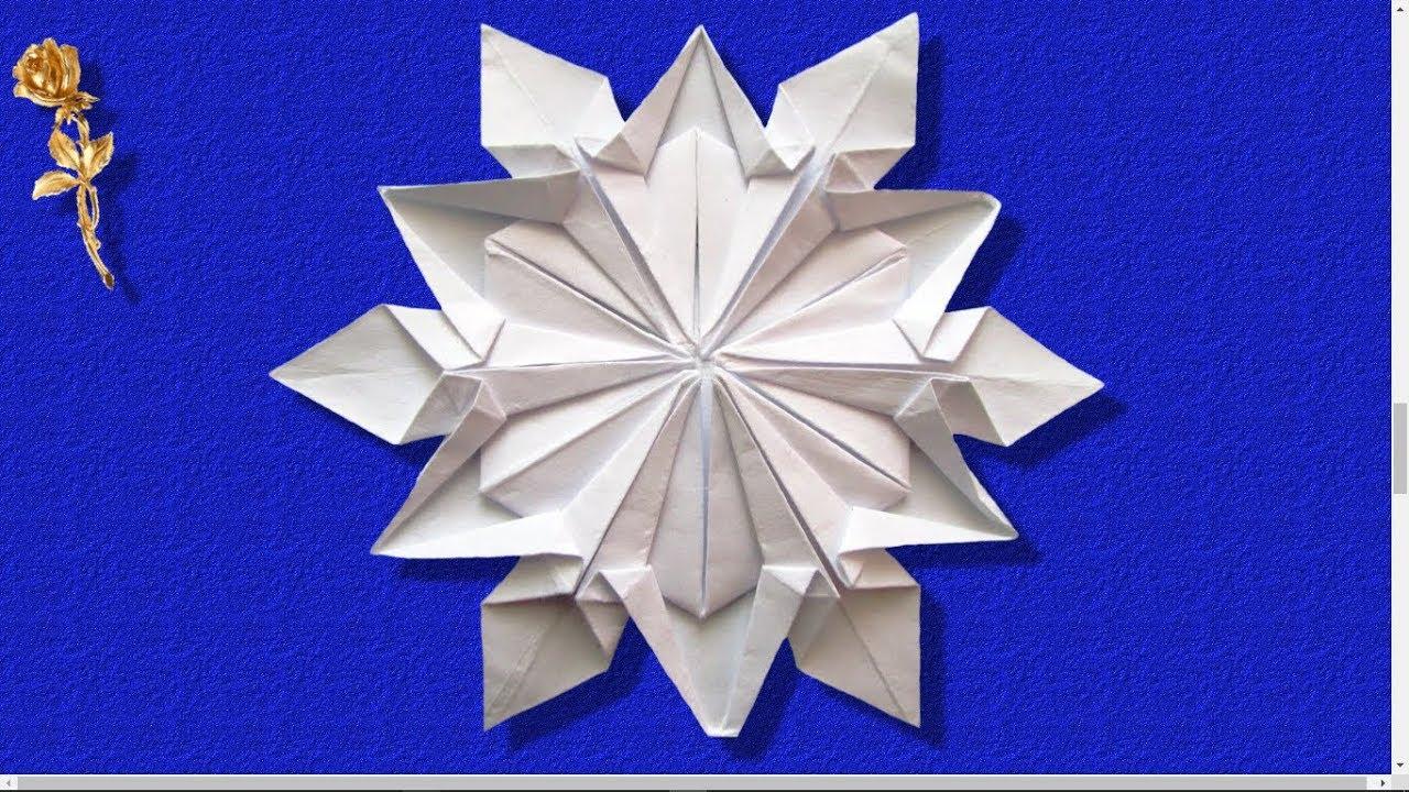 Origami flocon de neige dennis walker youtube - Gabarit flocon de neige a decouper ...