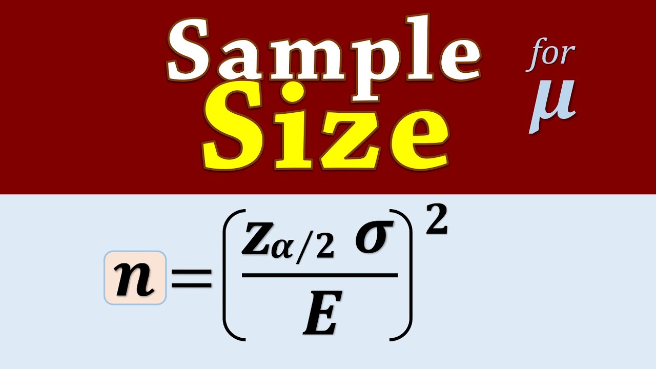 Calculating Sample Size to Estimate Population Mean - YouTube