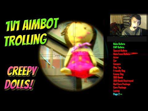 Black Ops 2 1v1 Aimbot Trickshot Trolling Confused Kid! (Creepy DOLLS On Mod Menu!)