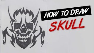 How to draw skull tribal tattoo design  |   Ep. 137