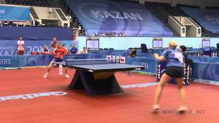 Universiade-2013. Yana Noskova - Hana Matelova(Universiade-2013 (Russia, Kazan). Table Tennis. Womens Teams, 1/4 final. Russia - Czech Republic, 10 July 2013. Palace of Sport (Moskovskaya str., 1) Yana ..., 2013-07-11T12:45:49.000Z)