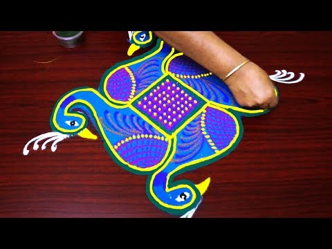 peacock rangoli designs with dots step by step - pongal kolam designs -  7x1 muggulu design