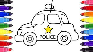 Voiture de police coloriage enfant | Coloring pages Cars Police how to draw
