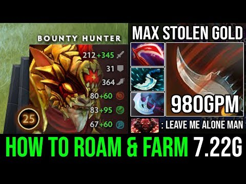 Max Gold Stealing Carry Bounty Hunter - IMBA Desolator Roaming Ninja Style 980GPM & 20Kills DotA 2