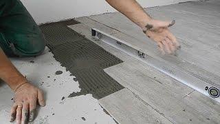 Оригинальная укладка плитки на кухне ч.2(В ролике показан сам процесс укладки плитки елочкой,на пол,рассказано как укладывать если стяжка неровная..., 2015-03-01T08:10:20.000Z)