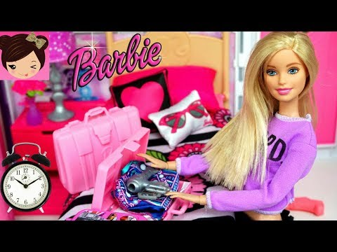 Barbie Bedroom Doll Morning Routine - Toy Grocery Store,  Doll house kitchen - Kids Toy Video