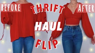 THRIFT FLIP TRY ON HAUL!! // DIY clothing transformations ~ shirts, skirts, and dresses~