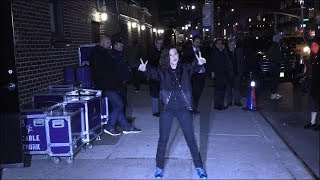 Millie Bobby Brown outside Colbert Show