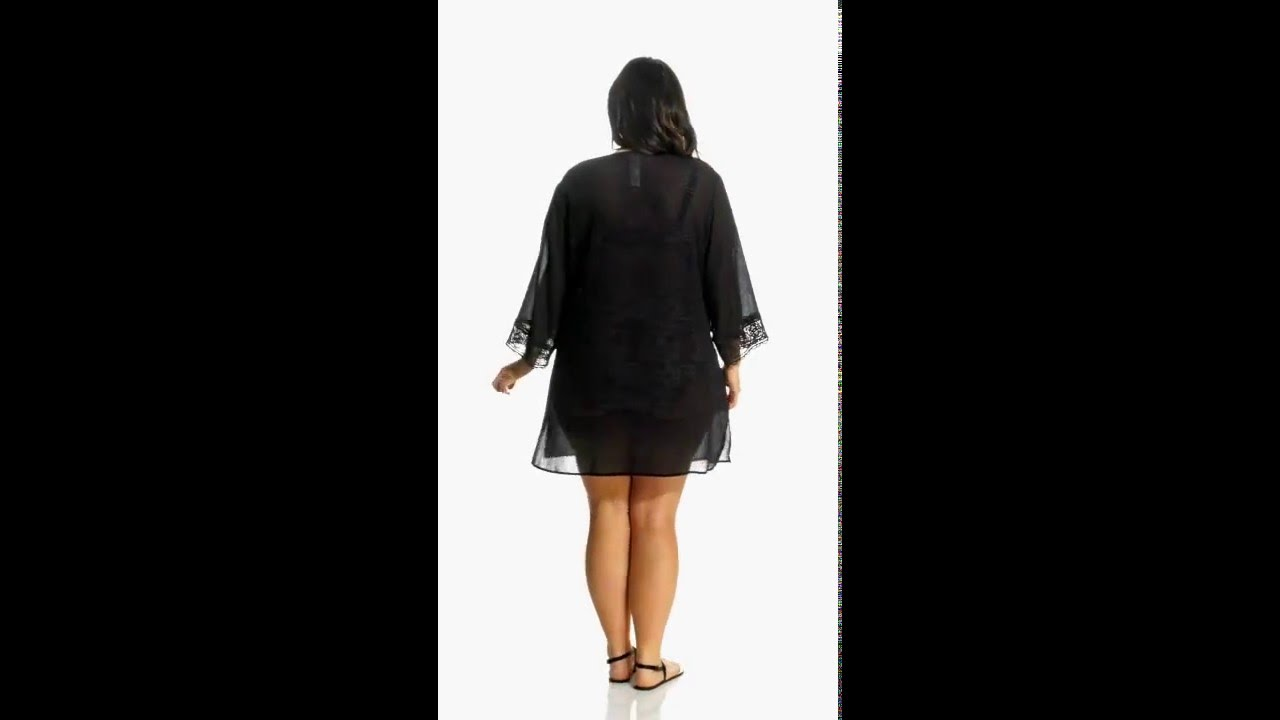 9b55af79a045b La Blanca Plus Size Island Fare V-Neck Tunic Cover Up