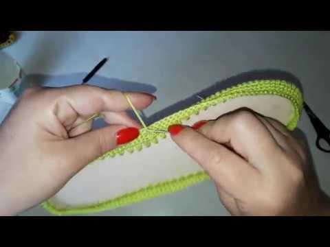Как связать туфли крючком с подошвой