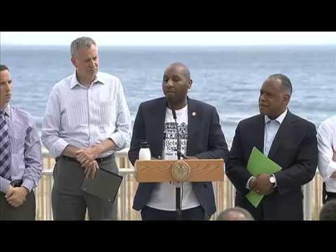 Mayor de Blasio Opens First Full Section of New Rockaway Beach Boardwalk