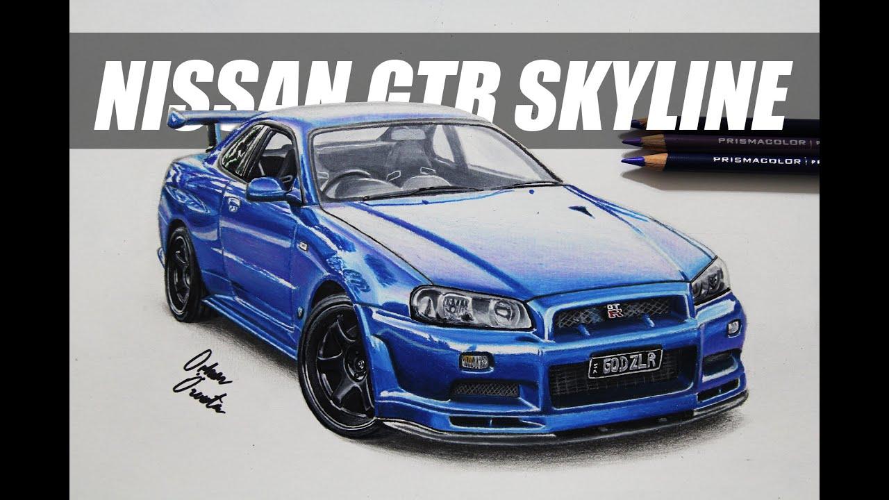 nissan gtr skyline r34 Çizim | realistic car drawing - youtube