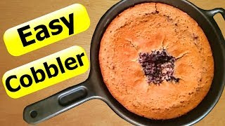 EASY Fruit Cobbler Recipe in a Cast Iron Skillet With Fresh Berries