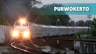 Kompilasi Kereta Api keluar masuk Stasiun Purwokerto dari sore sai malam