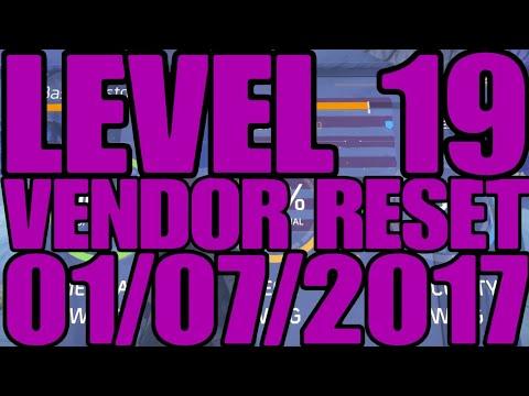Level 19 Vendor reset 01/07/2017