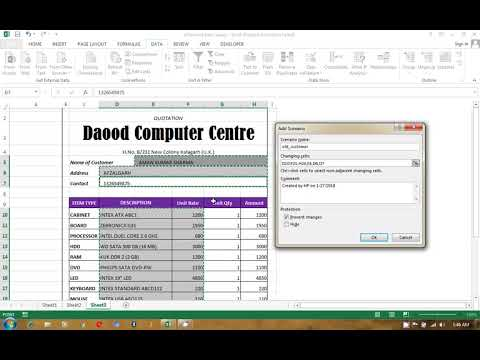 MS Excel Quotation using VBA Scenario Option