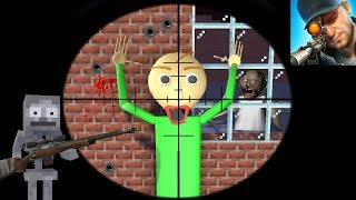 Monster School : SNIPER 3D GUN SHOOTER SHOOT BALDI'S BASICS CHALLENGE  - Minecraft Animation