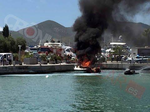 Cuatro heridos tras explosionar una embarcación en Ibiza