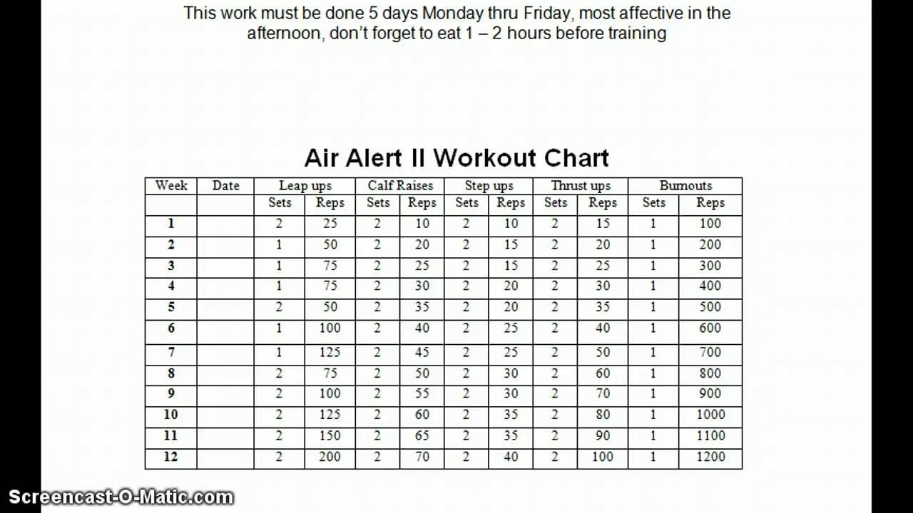 Air Alert 2 Workout Chart Pdf Blog Dandk
