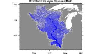 River flow in the Upper Mississippi River Basin
