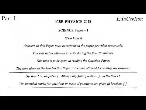 ICSE 2018 Physics Solved Question Paper