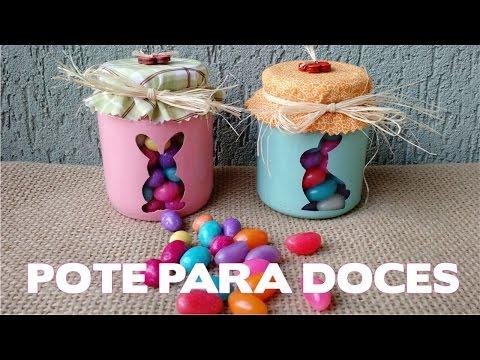 Artesanato / Enfeites de Páscoa Passo a Passo - DIY Potinhos para Doces de Páscoa
