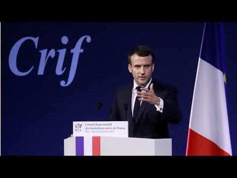 خطاب ماكرون أمام المجلس التمثيلي للمؤسسات اليهودية في باريس  - 10:54-2019 / 2 / 21