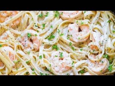 PASTA ALFREDO CON CAMARÓNES | Pasta Italiana estilo Olive Garden