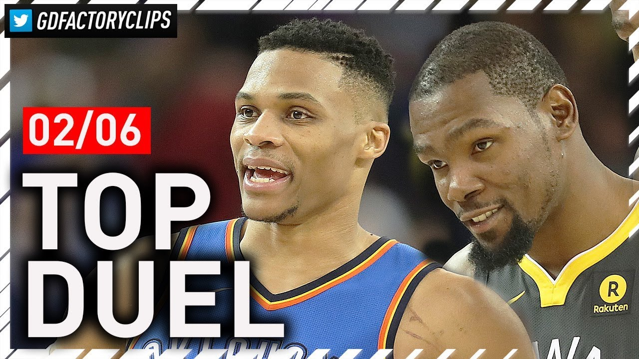 russell-westbrook-vs-kevin-durant-epic-duel-highlights-2018-02-06-warriors-vs-thunder-must-see