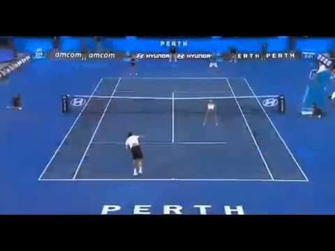 Agnieszka Radwanska-Gregory Panfil vs Evgeny Bouchard-Milos Raonic Hopman Cup 2014 - highlights
